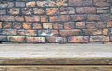 Fototapety Empty shelf and vintage brick wall - background