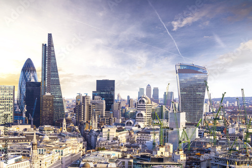 London sunset, view on business modern district Poster