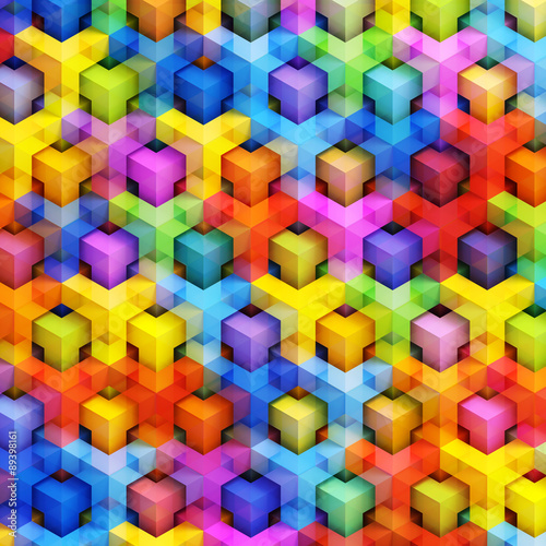 In de dag 3d Achtergrond Colorful 3D boxes background - vibrant cubes pattern