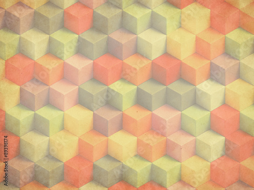 Fotobehang 3d Achtergrond Colorful vintage 3D boxes background - vibrant cubes pattern