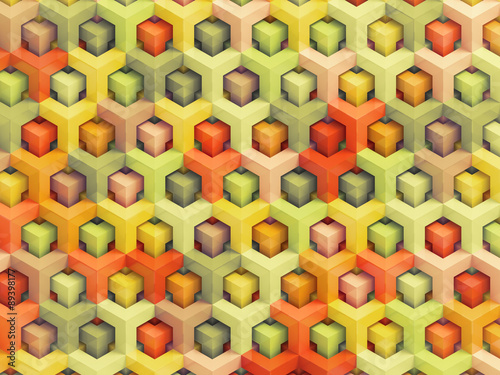 In de dag 3d Achtergrond Colorful vintage 3D boxes background - vibrant cubes pattern