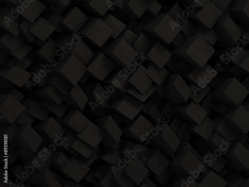 Fotobehang 3d Achtergrond Abstract black 3D geometric background made by dark polygon boxes