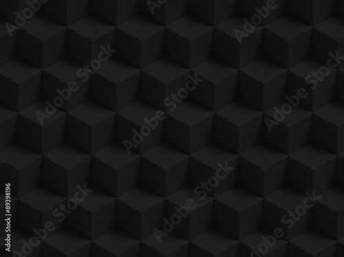 Fotobehang 3d Achtergrond Abstract black 3D geometric cubes background - seamless pattern
