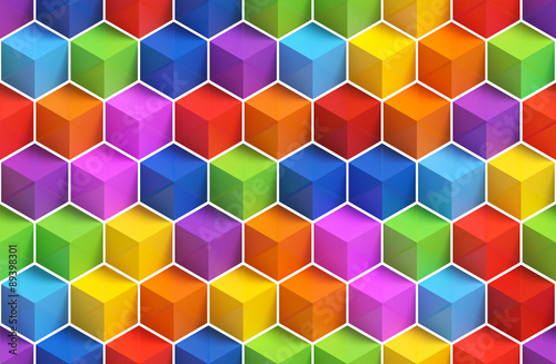 Aluminium 3d Achtergrond Colorful 3D boxes background - vibrant cubes seamless pattern