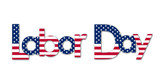 LABOR DAY Letters Icon with American Flag