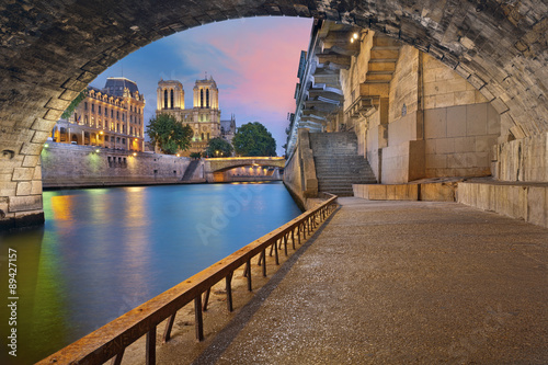 Paris. Image of the Notre-Dame Cathedral and riverside of Seine river in Paris, France. Photo by rudi1976