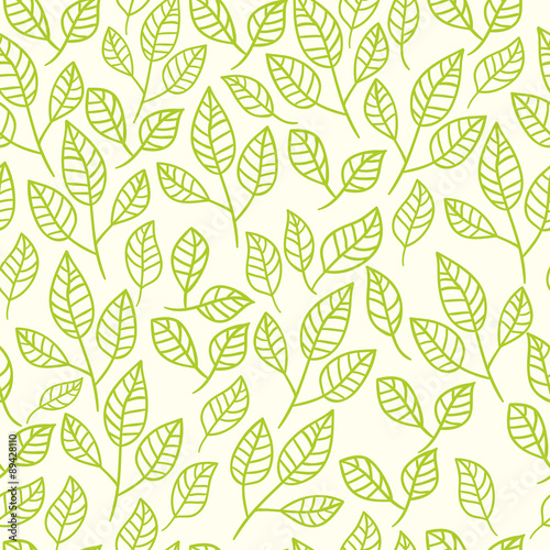 Fototapeta Seamless abstract hand-drawn floral background.