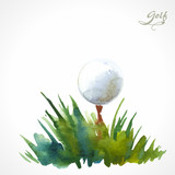 Watercolor poster with the inscription golf. A simple solution f