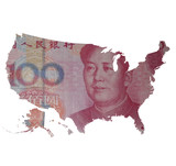 Capitalism and globalization. Map of the USA covered with 100 yuan bill. China is the largest US creditor in the world.