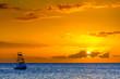 Beautiful sunset behind sport fishing boat on Maui, Hawaii, USA