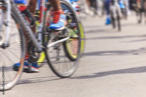 Deurstickers Fietsen Motion blurred biker