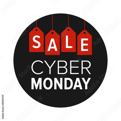 Cyber Monday sale website display with red hang tags vector promotion
