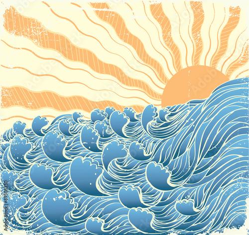 Fototapeta Sea waves. Vectorgrunge illustration of sea landscape with sun