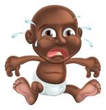 Unhappy cute cartoon baby