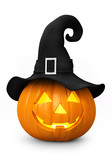 Halloween - carved pumpkin with witch hat - illuminated