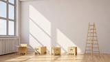 Fototapety Umzug mit Umzugskartons in einem Raum