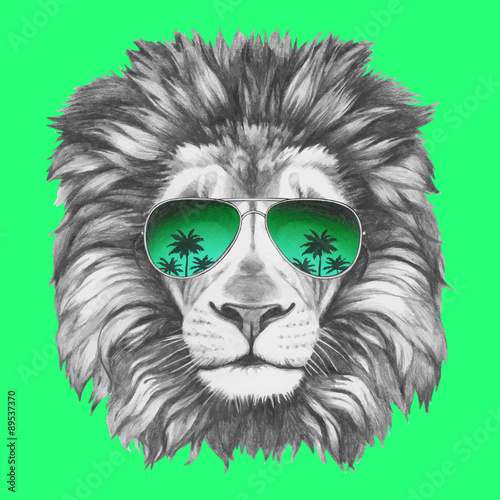 Fototapeta Hand drawn portrait of Lion with sunglasses. Vector isolated elements.