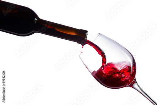 Poster  Red wine on white background