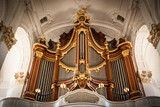 The organ in St. Michaelis church in Hamburg, Germany.