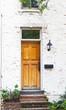 Antique Front Door and Flower Bed