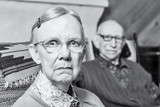 Scowling Elderly Couple poster