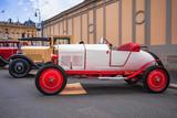 Wuerzburg City in Franconia, Germany. Opel Oldtimer vintage car