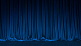 Blue curtain in theater.