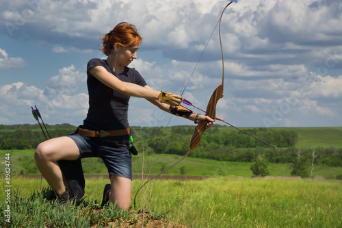 Poster Archery woman bends bow archer target narrow