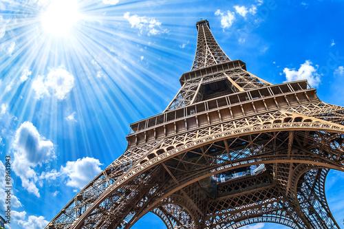 Deurstickers Eiffeltoren Eiffelturm - Weitwinkel Aufnahme