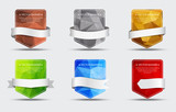 Fototapety Set of banners with a polygonal background and ribbon