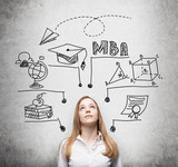A young lady is thinking about MBA degree. Educational chart is drawn behind her. A concept of further business education. Concrete background. poster