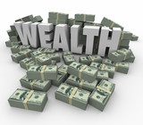 Wealth Word Money Stacks Savings Income Earnings Rich Affluence poster