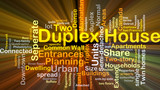 Duplex house background concept glowing poster