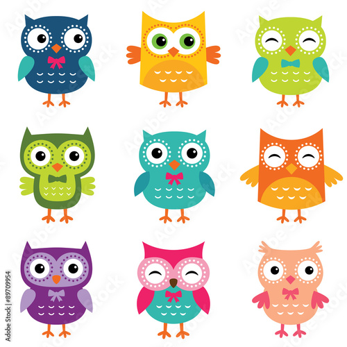 mata magnetyczna Isolated cartoon owls collection