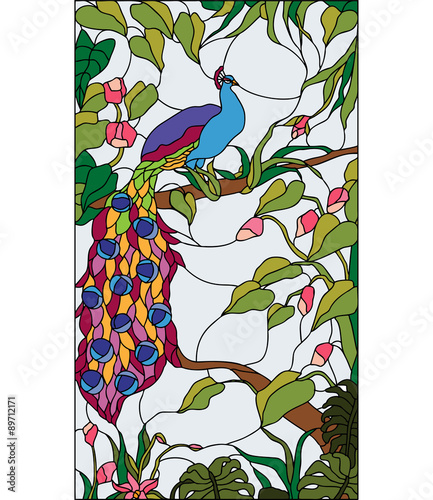 Naklejka Peacock in the garden with flowers, stained glass window, vector