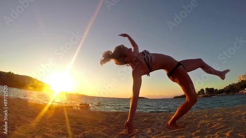 girl training, gymnastics exercise, summer, SLOW MOTION