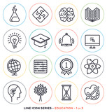 Fototapety Education & learning line icons set. Vector collection of teaching symbols & educational equipments.