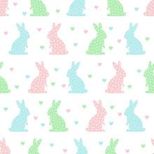 Jednolite wzór z cute Easter bunny i serca. Pastelowe kolory wektora tła.