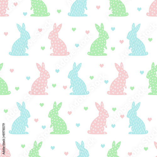 Cotton fabric Seamless Easter pattern with cute bunny and heart. Pastel colors vector background.
