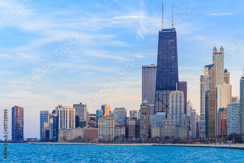Chicago downtown skyline at dusk. Poster