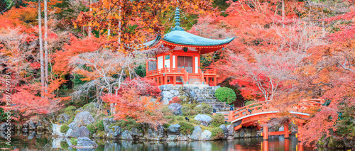 Fotobehang Kyoto The leave change color of red in Temple japan.