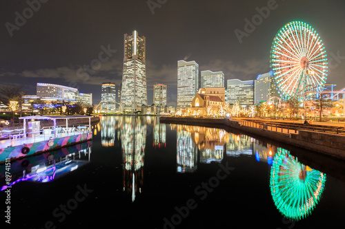 Poster  Japan skyline at Minato Mirai waterfront district and reflectio