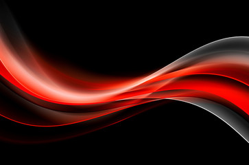 Abstract Red Waves Art Background