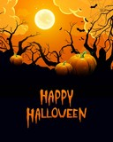 Fototapety Vector Illustration of a Halloween Background with Pumpkins