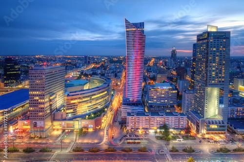 Zdjęcia na płótnie, fototapety na wymiar, obrazy na ścianę : Warszawa wieczorna panorama miasta