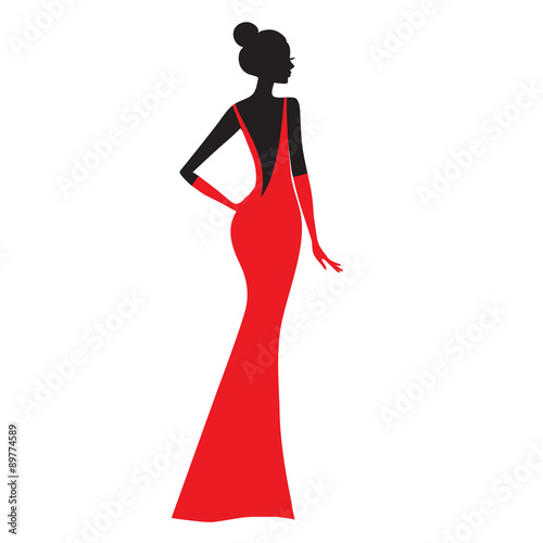 Fashion model. Silhouette of beautiful woman in red dress vector illustration.