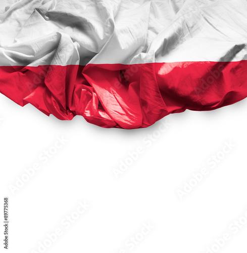 Obraz na płótnie Poland waving flag on white background