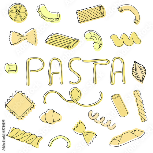 Hand drawn food pasta set