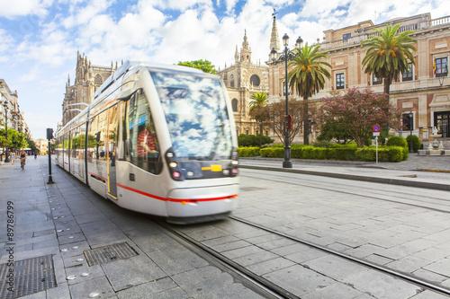 Tram at Constitution Avenue. Seville city center,