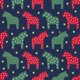 Seamless scandinavian style pattern with traditional horses and snowflakes. Cute Xmas and New Year illustration card. Winter holiday background.